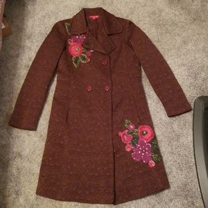 Anthropologie embroidered brocade coat